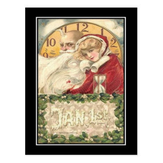 Jan 1st Old Father Time New Year Postcard