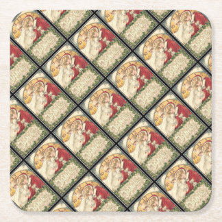 Jan 1st Old Father Time New Year Square Paper Coaster
