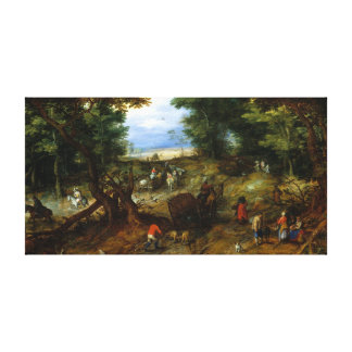 Jan Brueghel the Elder A Woodland Road Travelers Canvas Print