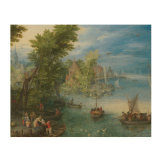 Jan Brueghel the Elder - River Landscape Wood Canvas