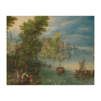 Jan Brueghel the Elder - River Landscape Wood Print