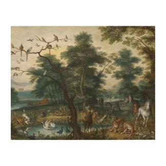 Jan Brueghel the Younger - Paradise Landscape Wood Print