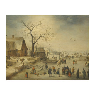 Jan Brueghel the Younger - Villagers on the ice Wood Print