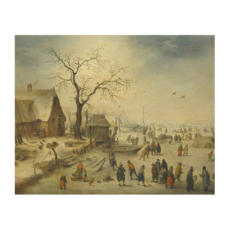 Jan Brueghel the Younger - Villagers on the ice Wood Prints