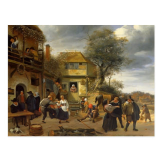 Jan Steen- Peasants before an Inn Postcard