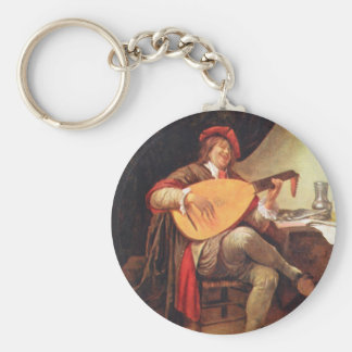 Jan Steen. Self-portrait playing the lute Key Ring