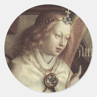 Jan van Eyck Angel, Genter Altar Fine Vintage Classic Round Sticker