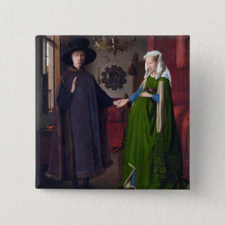 JAN VAN EYCK- Arnolfini Portrait 1434 15 Cm Square Badge