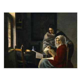 Jan Vermeer - Girl Interrupted at Her Music Postcard