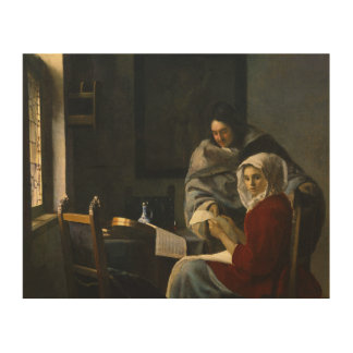 Jan Vermeer - Girl Interrupted at Her Music Wood Canvases