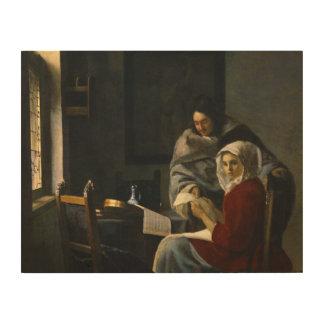 Jan Vermeer - Girl Interrupted at Her Music Wood Prints