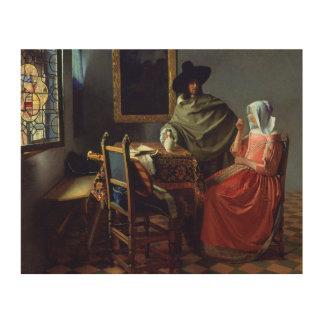 Jan Vermeer - The Glass of Wine Wood Canvas