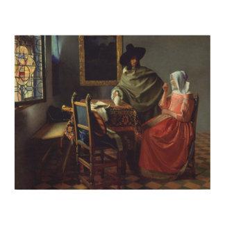 Jan Vermeer - The Glass of Wine Wood Print