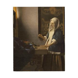 Jan Vermeer Woman Holding A Balance Fine Art Wood Print