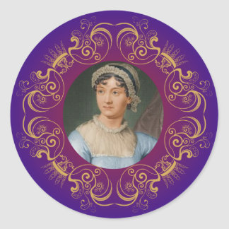 Jane Austen Colour Portrait in Gold Swirl Frame Round Sticker