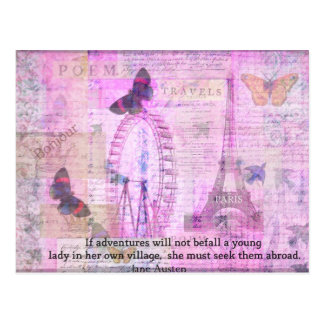 Jane Austen  cute Travel quotation Postcard