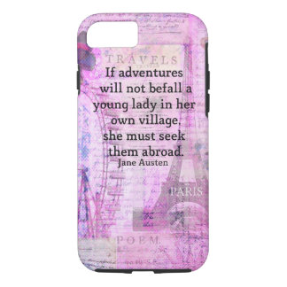 Jane Austen cute  travel quote with art iPhone 8/7 Case