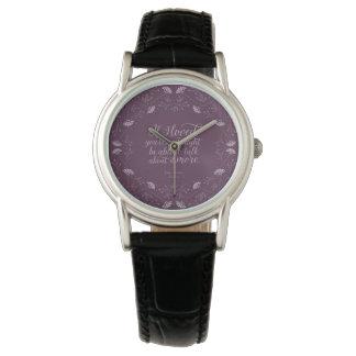 Jane Austen Emma Purple Floral Love Quote Wristwatch