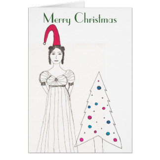 Jane Austen girl, Christmas floppy hat, Christm... Card