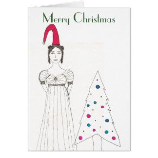 Jane Austen girl, Christmas floppy hat, Christm... Greeting Card