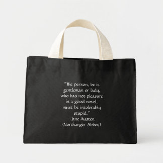 "Jane Austen ""Good Novel"" Quote Bag in Black"