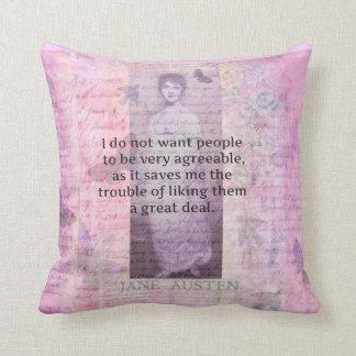 Jane Austen humourous snarky quote decorative Throw Pillow