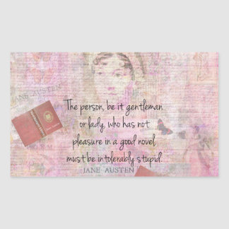Jane Austen  Intolerably Stupid quote humour Rectangular Sticker