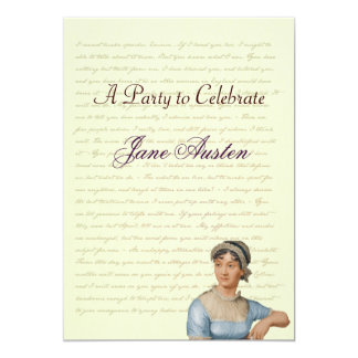 Jane Austen Party Birthday Celebration Quotes 13 Cm X 18 Cm Invitation Card