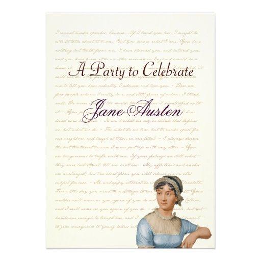 Jane Austen Party Birthday Celebration Quotes Personalized Invites