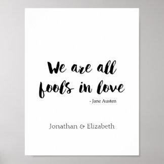 Jane Austen Personalised Romantic Quote Poster