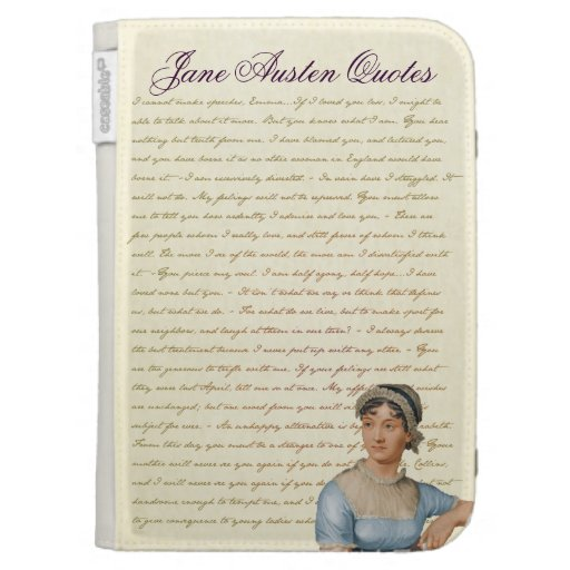 Jane Austen Portrait with Quotes Kindle Case Kindle Keyboard Case