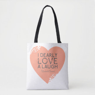 Jane Austen Pride Prejudice Quote   Pink Heart Bag