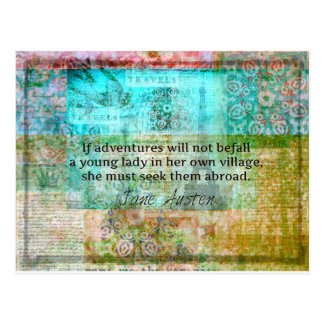 Jane Austen quote about adventure and travel Postcard