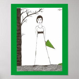 Jane Austen Rice Painting Poster