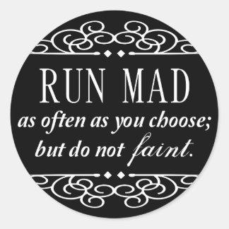 Jane Austen: Run Mad quote stickers (black)