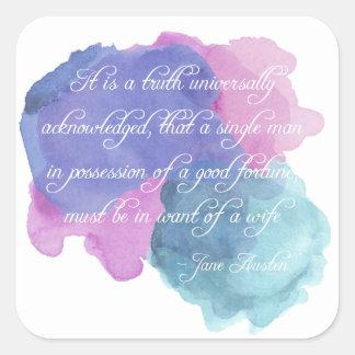 Jane Austen- Truth Universally Acknowledged Square Sticker