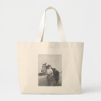 Jane Bernoudi and her horse Large Tote Bag