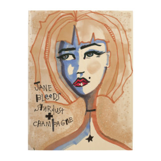 Jane Bleeds Stardust and Champagne Wood Print