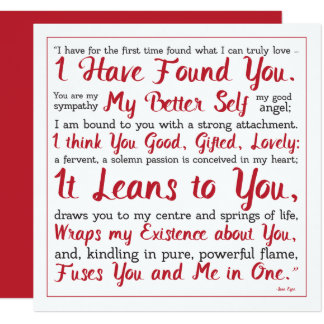 Jane Eyre Red and White Better Self Quotation Card