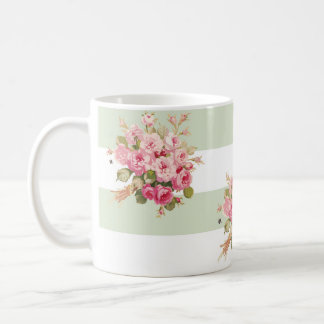 Jane's Rose Bouquet basil stripe mug