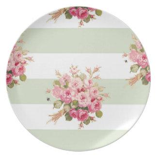 Jane's Rose Bouquet basil stripe plate