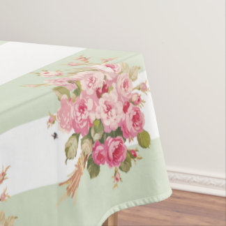 Jane's Rose Bouquet basil stripe tablecloth