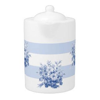 Jane's Rose Bouquet blueberry stripe large teapot