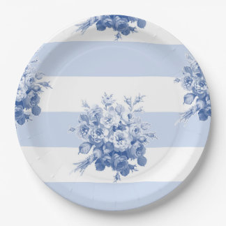 Jane's Rose Bouquet blueberry stripe paper plate