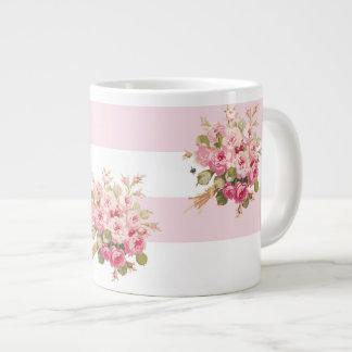 Jane's Rose Bouquet peony stripe jumbo mug