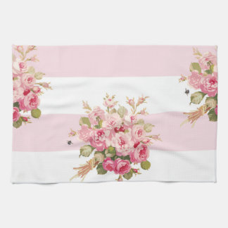 Jane's Rose Bouquet peony stripe kitchen towel