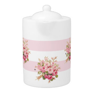 Jane's Rose Bouquet peony stripe large teapot