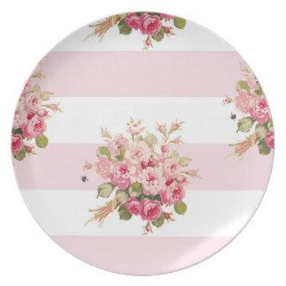 Jane's Rose Bouquet peony stripe plate