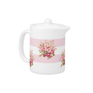 Jane's Rose Bouquet peony stripe small teapot