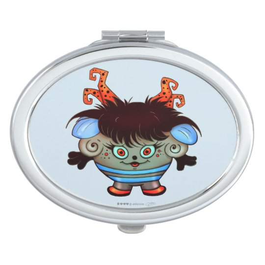 JANET ALIEN MONSTER CARTOON compact mirror OVAL